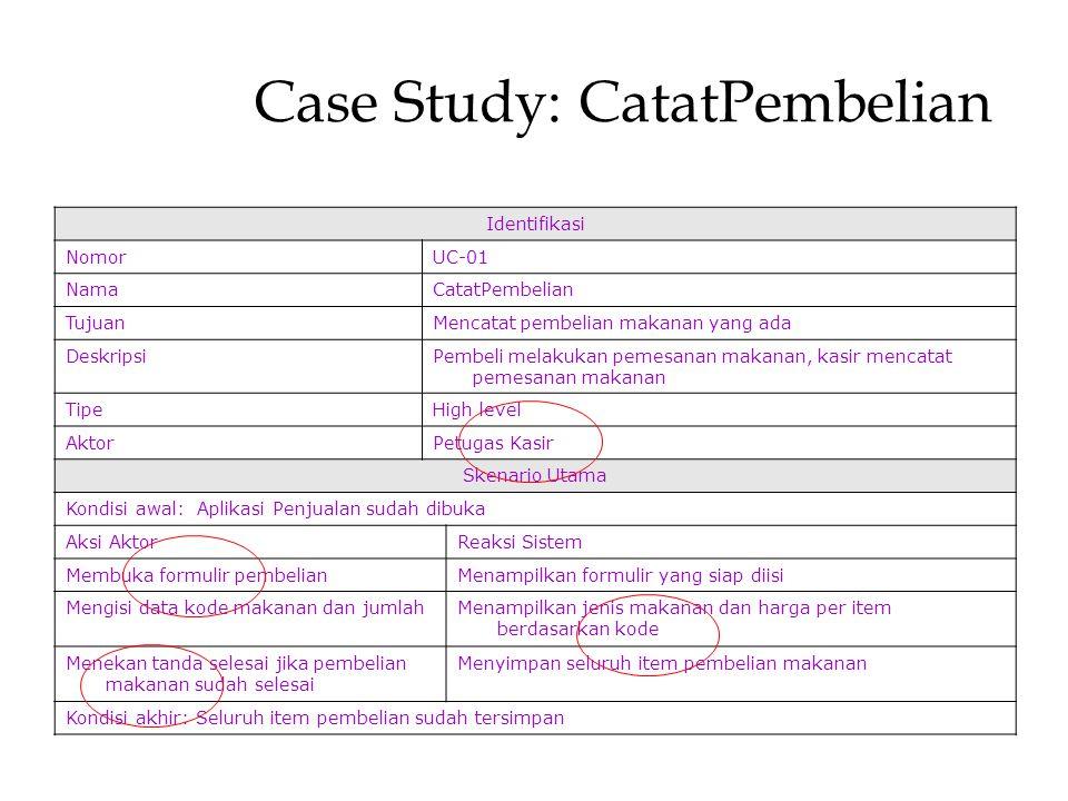 Perancangan Sistem Informasi Antonius Wahyu Sudrajat, S. Kom., M.T.I Case Study: CatatPembelian