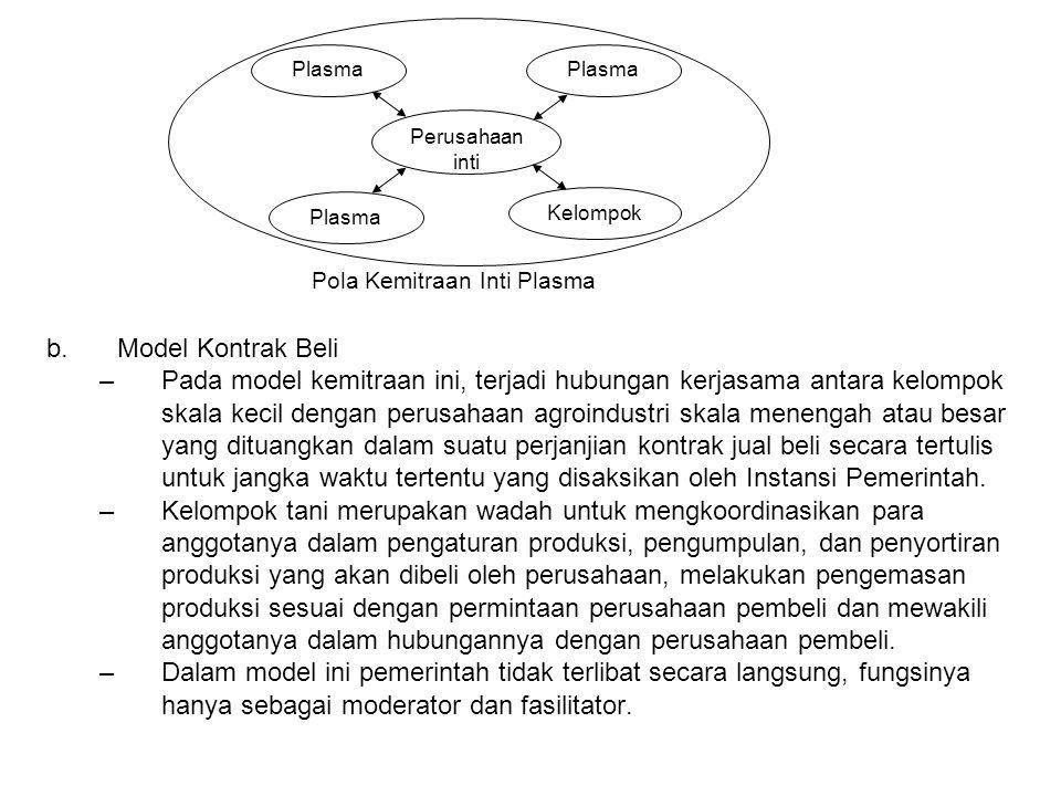 b.Model Kontrak Beli –Pada model kemitraan ini, terjadi hubungan kerjasama antara kelompok skala kecil dengan perusahaan agroindustri skala menengah a