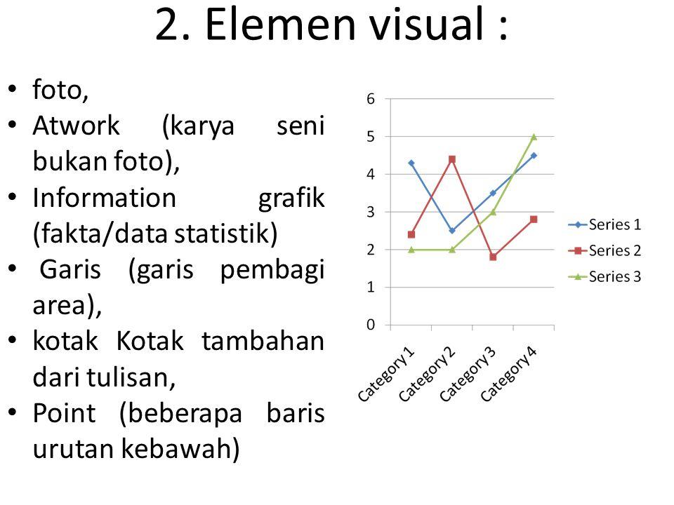 2. Elemen visual : foto, Atwork (karya seni bukan foto), Information grafik (fakta/data statistik) Garis (garis pembagi area), kotak Kotak tambahan da