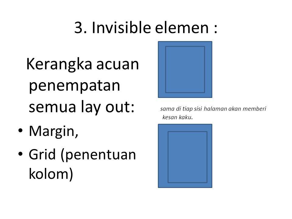 3. Invisible elemen : Kerangka acuan penempatan semua lay out: Margin, Grid (penentuan kolom) Jarak margin yang sama di tiap sisi halaman akan memberi