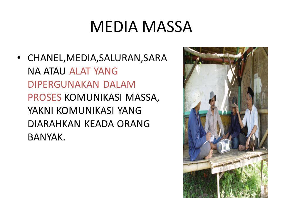 JENIS MEDIA MASSA 1.Media massa cetak : Koran,News letter,majalah,brosur,f older, poster, leaflet 2.Media massa Elektronik : Radio,TV dan film 3.Media online : Media di internet