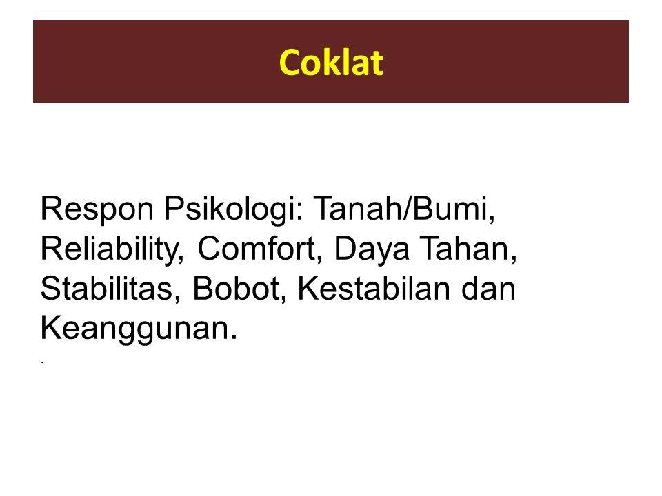 Coklat Respon Psikologi: Tanah/Bumi, Reliability, Comfort, Daya Tahan, Stabilitas, Bobot, Kestabilan dan Keanggunan..