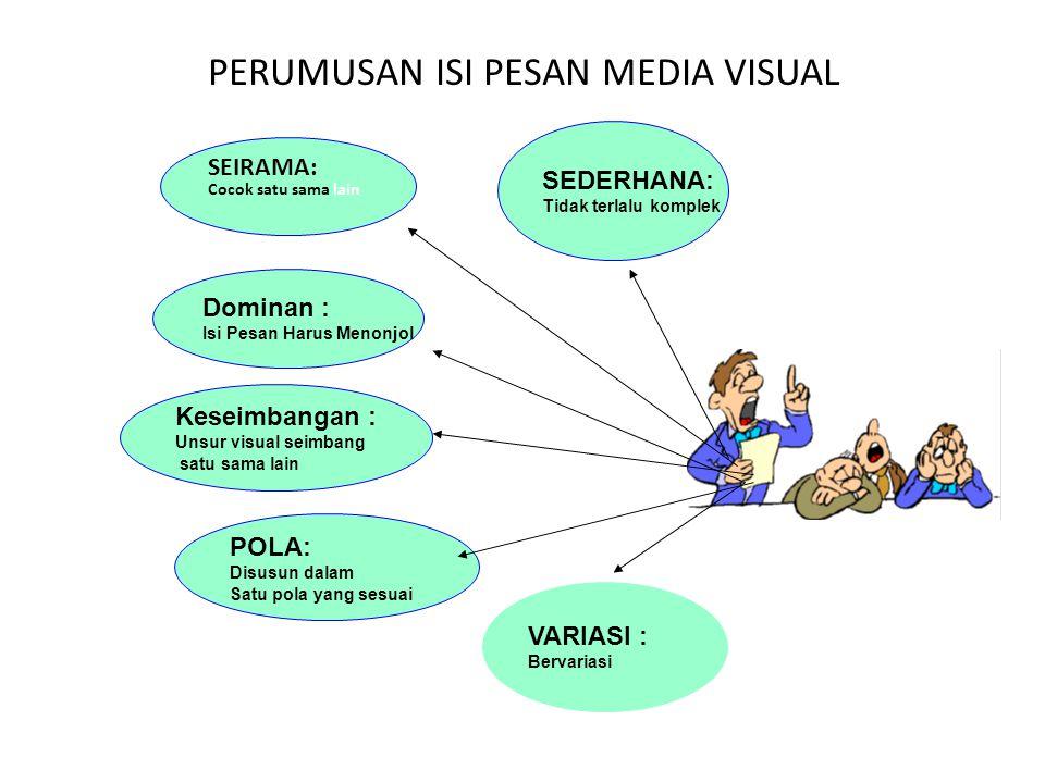 PERUMUSAN ISI PESAN MEDIA VISUAL SEIRAMA: Cocok satu sama lain Dominan : Isi Pesan Harus Menonjol Keseimbangan : Unsur visual seimbang satu sama lain
