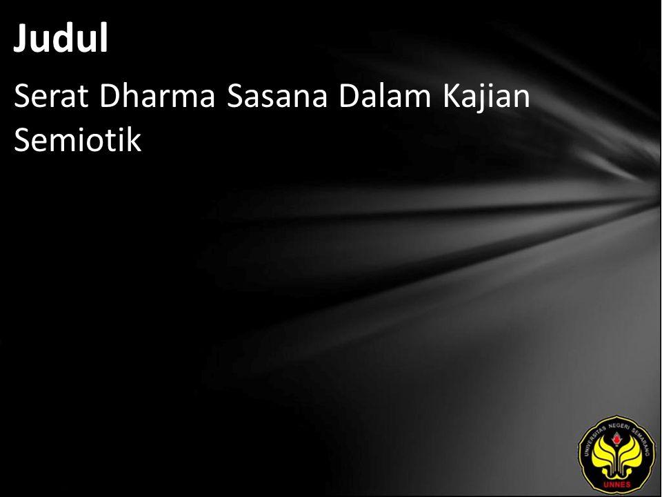 Judul Serat Dharma Sasana Dalam Kajian Semiotik