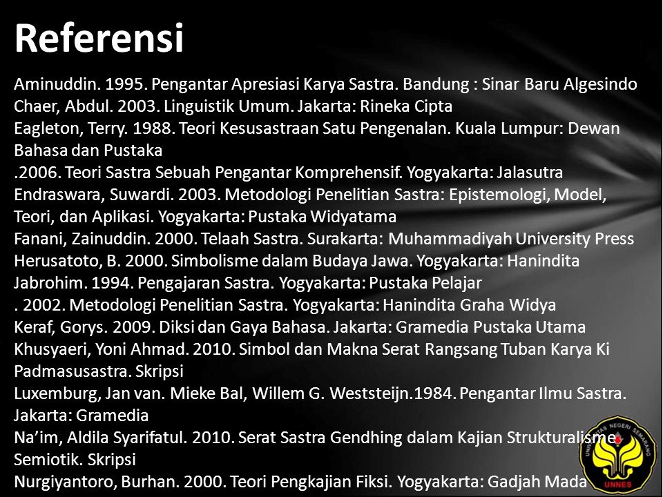 Referensi Aminuddin. 1995. Pengantar Apresiasi Karya Sastra. Bandung : Sinar Baru Algesindo Chaer, Abdul. 2003. Linguistik Umum. Jakarta: Rineka Cipta