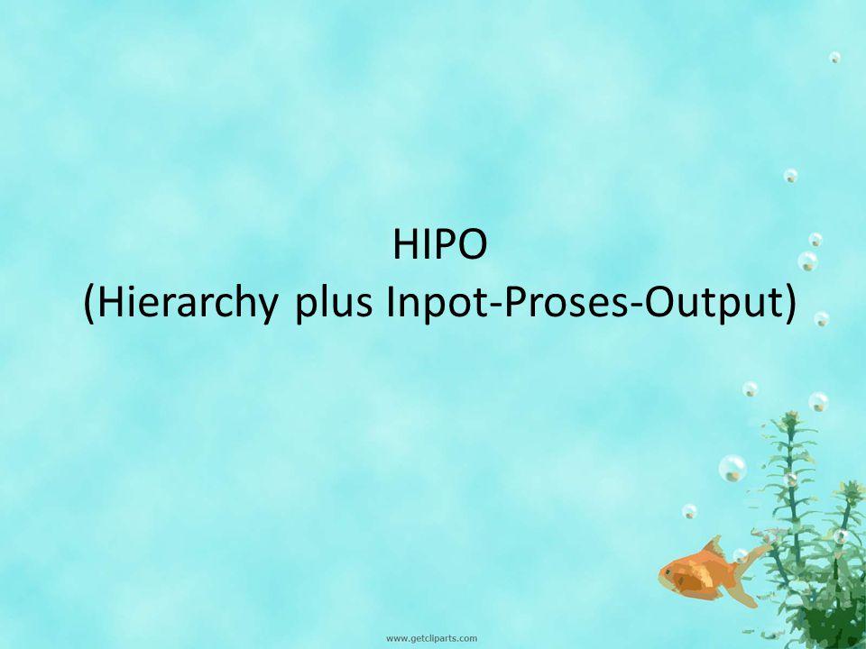 PENGERTIAN HIPO (Hierarchy plus Input-Proses-Output) merupakan alat dokumentasi program yang berdasarkan fungsinya untuk meningkatkan efesiensi usaha perawatan program.