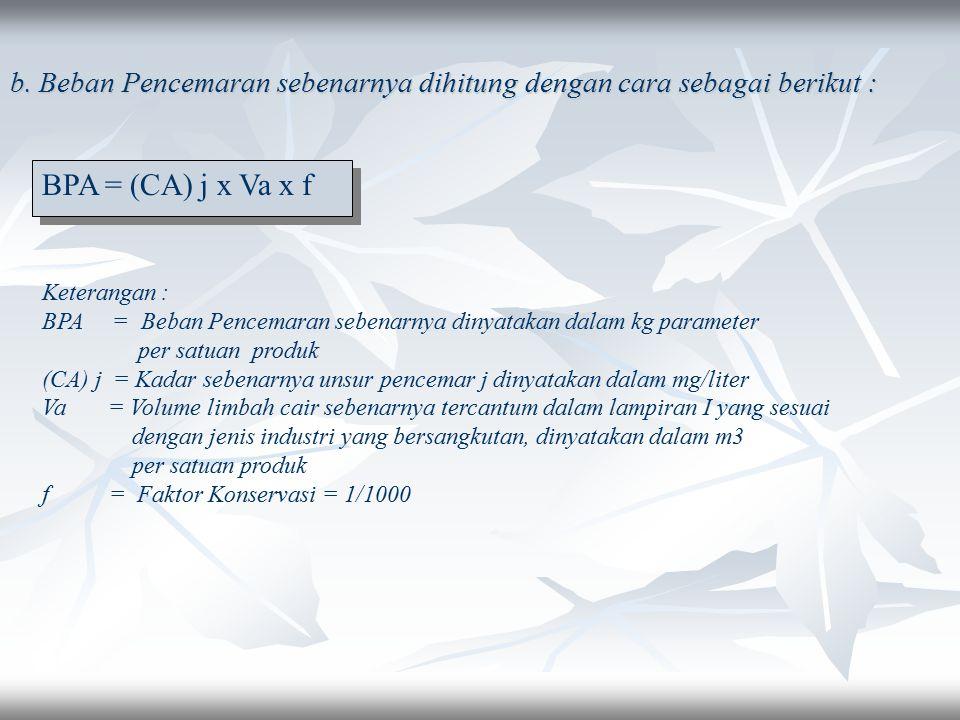 2. Apabila Menghitung Beban Pencemaran Maksimum a. Penghitungan Beban Pencemaran Maksimum dihitung sebagai berikut : BPM = (CM) j x Vm x f Keterangan