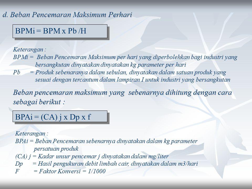 Keterangan : BPMt = Beban Penecamaran sebenarnya dinyatakan dalam Kg parameter per satuan produk Vm 1 = Volume maksimum limbah cair industri 1 sesuai
