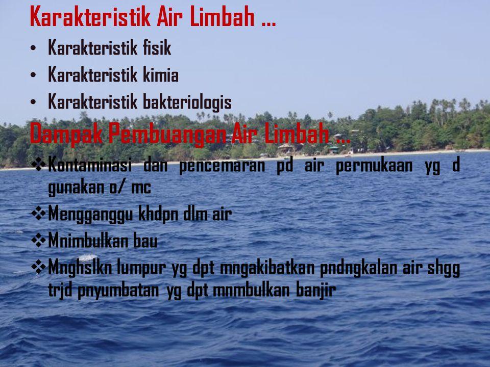 Sumber Air Limbah... Air limbah dpt berasal dr bbgai sumber spt : 1.Rmh tangga 2.Perkotaan 3.Industri Volume air limbah yg d hslkan pd swtu masy dipen