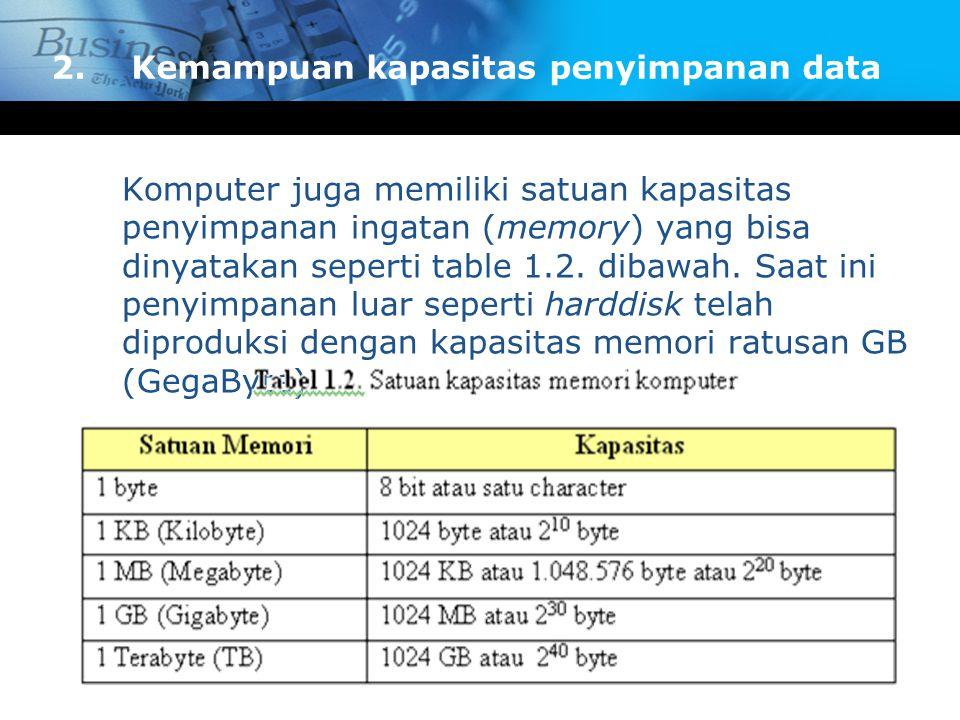 Komputer juga memiliki satuan kapasitas penyimpanan ingatan (memory) yang bisa dinyatakan seperti table 1.2. dibawah. Saat ini penyimpanan luar sepert