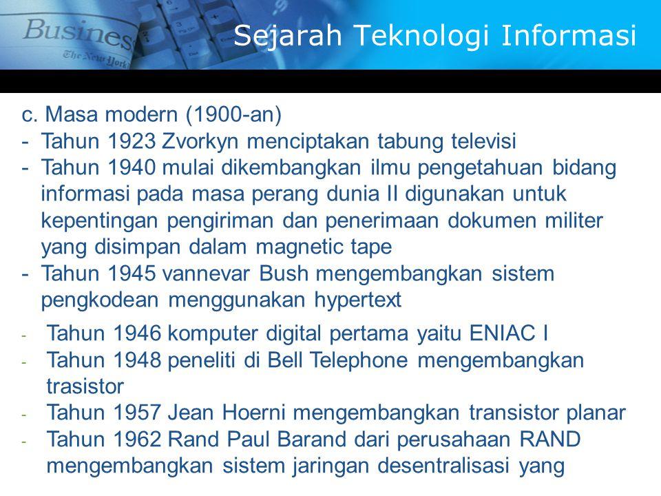 c. Masa modern (1900-an) -T-Tahun 1923 Zvorkyn menciptakan tabung televisi -T-Tahun 1940 mulai dikembangkan ilmu pengetahuan bidang informasi pada mas