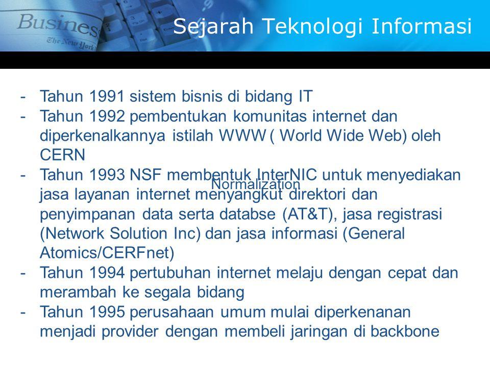 -T-Tahun 1991 sistem bisnis di bidang IT -T-Tahun 1992 pembentukan komunitas internet dan diperkenalkannya istilah WWW ( World Wide Web) oleh CERN -T-Tahun 1993 NSF membentuk InterNIC untuk menyediakan jasa layanan internet menyangkut direktori dan penyimpanan data serta databse (AT&T), jasa registrasi (Network Solution Inc) dan jasa informasi (General Atomics/CERFnet) -T-Tahun 1994 pertubuhan internet melaju dengan cepat dan merambah ke segala bidang -T-Tahun 1995 perusahaan umum mulai diperkenanan menjadi provider dengan membeli jaringan di backbone Normalization