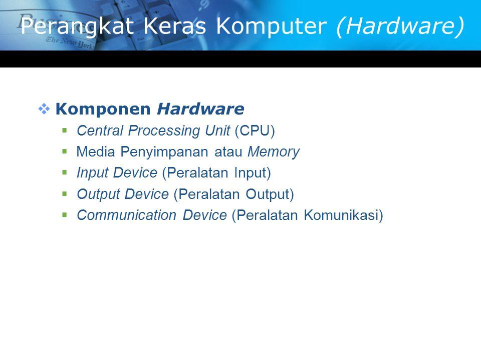 Perangkat Keras Komputer (Hardware)  Komponen Hardware  Central Processing Unit (CPU)  Media Penyimpanan atau Memory  Input Device (Peralatan Inpu