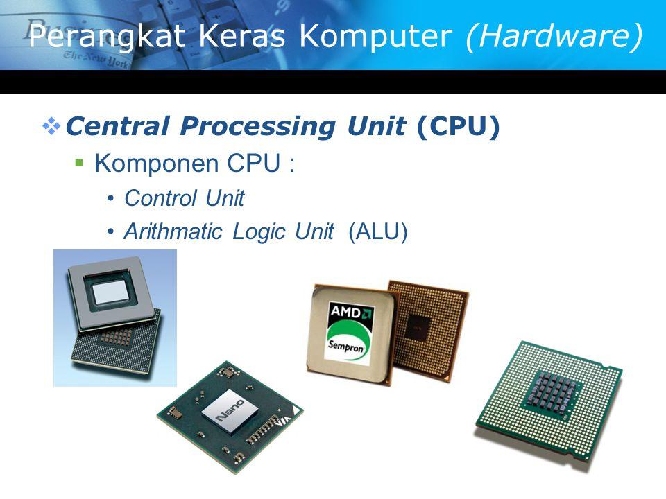 Perangkat Keras Komputer (Hardware)  Central Processing Unit (CPU)  Komponen CPU : Control Unit Arithmatic Logic Unit (ALU)