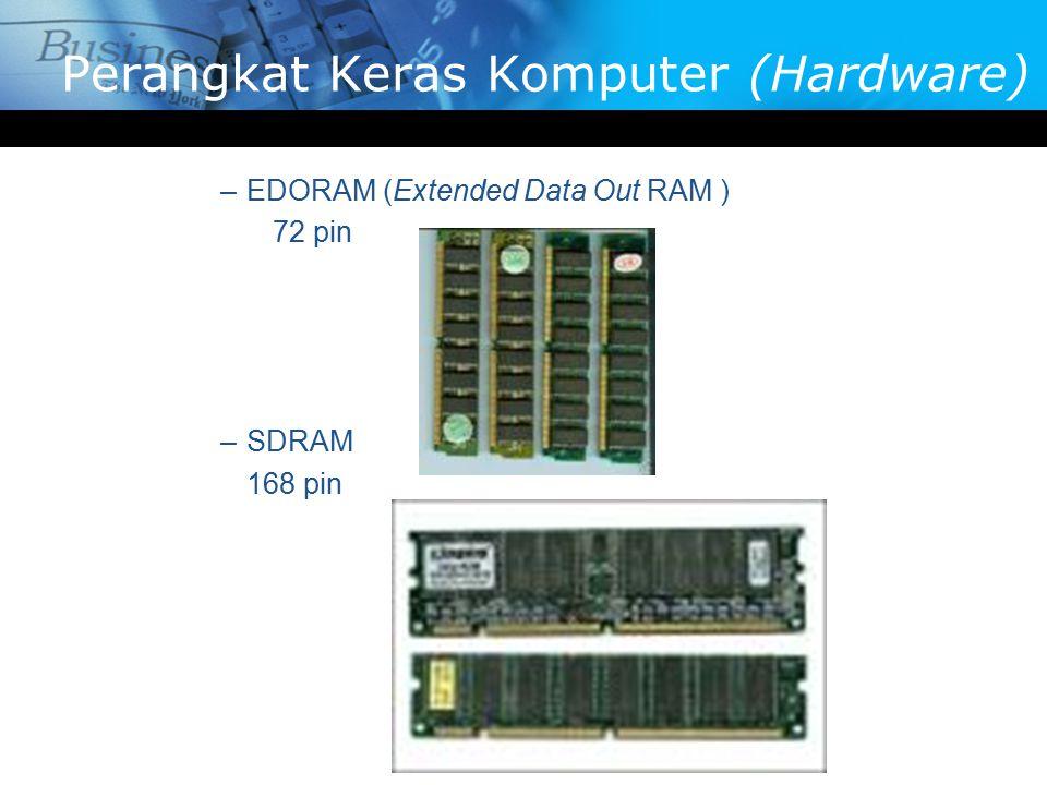 –EDORAM (Extended Data Out RAM ) 72 pin –SDRAM 168 pin Perangkat Keras Komputer (Hardware)