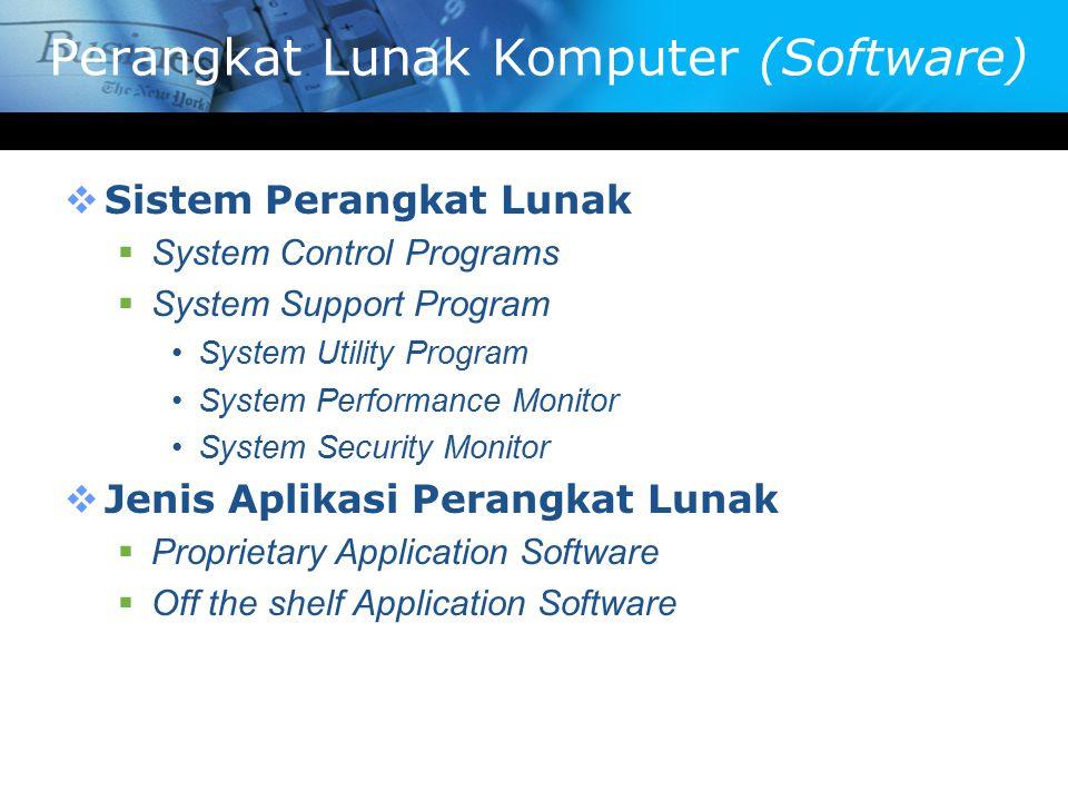 Perangkat Lunak Komputer (Software)  Sistem Perangkat Lunak  System Control Programs  System Support Program System Utility Program System Performa