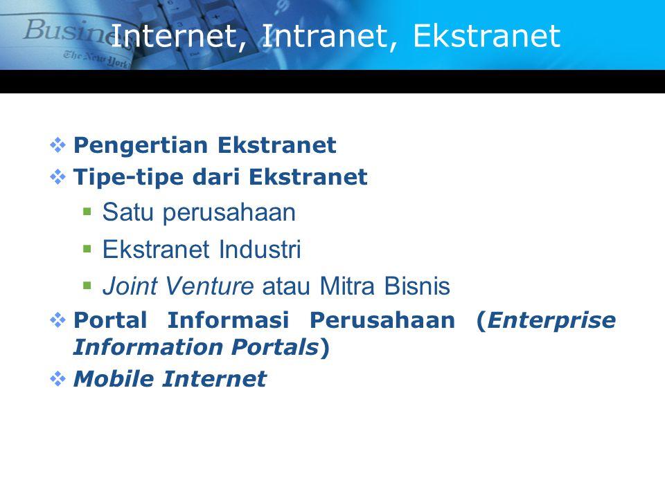 Internet, Intranet, Ekstranet  Pengertian Ekstranet  Tipe-tipe dari Ekstranet  Satu perusahaan  Ekstranet Industri  Joint Venture atau Mitra Bisn