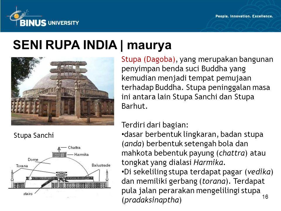 16 SENI RUPA INDIA   maurya Stupa (Dagoba), yang merupakan bangunan penyimpan benda suci Buddha yang kemudian menjadi tempat pemujaan terhadap Buddha.