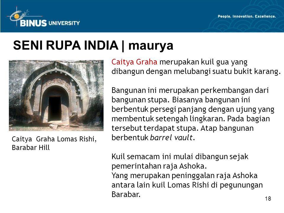 18 SENI RUPA INDIA   maurya Caitya Graha Lomas Rishi, Barabar Hill Caitya Graha merupakan kuil gua yang dibangun dengan melubangi suatu bukit karang.