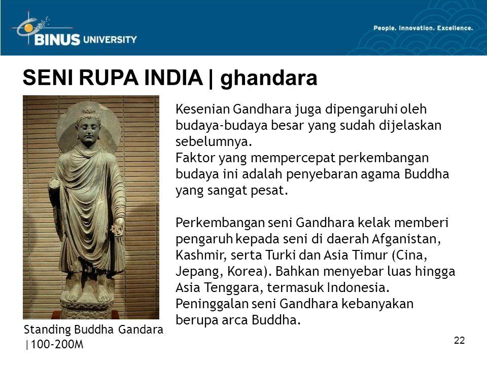 22 SENI RUPA INDIA   ghandara Standing Buddha Gandara  100-200M Kesenian Gandhara juga dipengaruhi oleh budaya-budaya besar yang sudah dijelaskan sebe