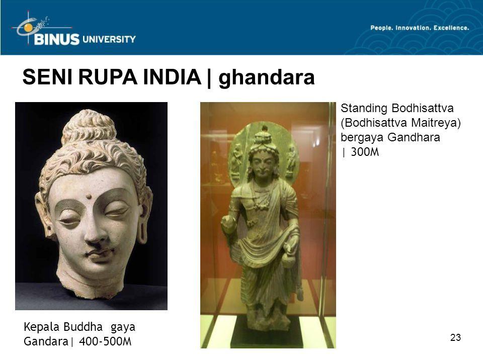 23 SENI RUPA INDIA   ghandara Kepala Buddha gaya Gandara  400-500M Standing Bodhisattva (Bodhisattva Maitreya) bergaya Gandhara   300M