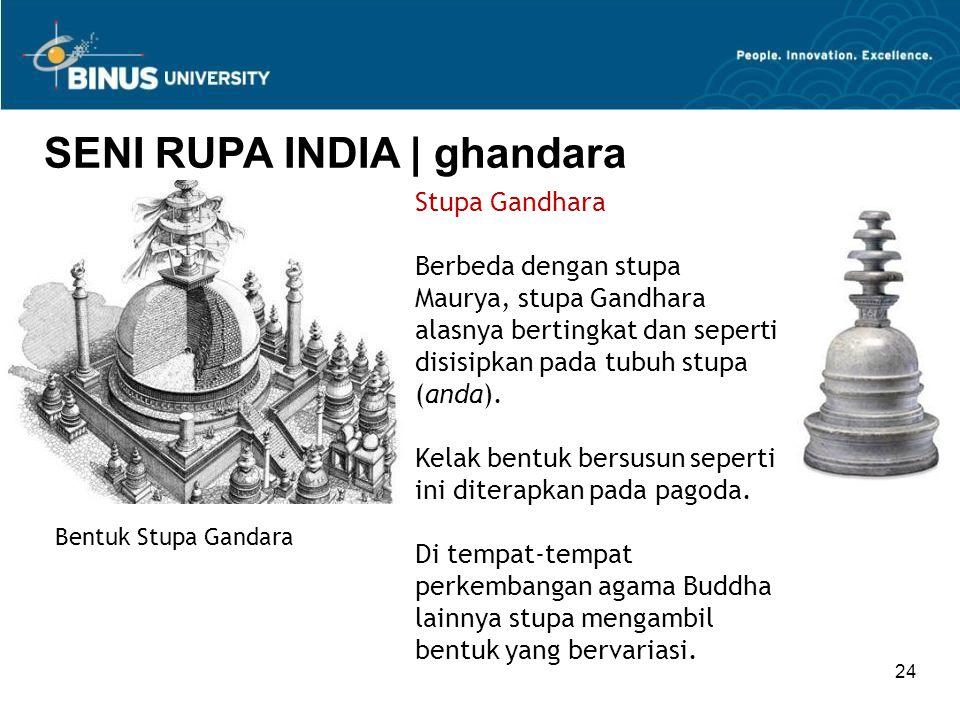 24 SENI RUPA INDIA   ghandara Bentuk Stupa Gandara Stupa Gandhara Berbeda dengan stupa Maurya, stupa Gandhara alasnya bertingkat dan seperti disisipka