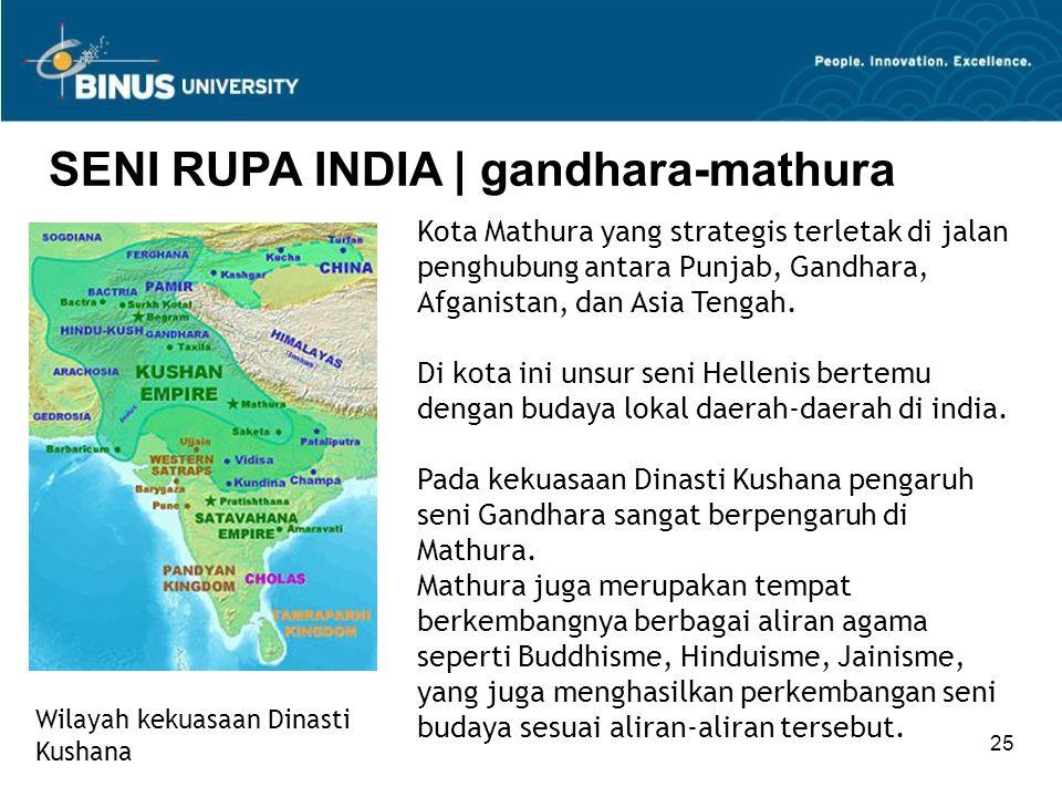25 SENI RUPA INDIA   gandhara-mathura Wilayah kekuasaan Dinasti Kushana Kota Mathura yang strategis terletak di jalan penghubung antara Punjab, Gandha