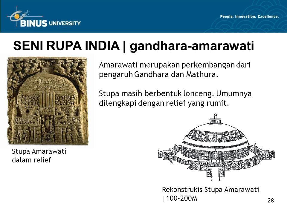 28 SENI RUPA INDIA   gandhara-amarawati Stupa Amarawati dalam relief Amarawati merupakan perkembangan dari pengaruh Gandhara dan Mathura. Stupa masih