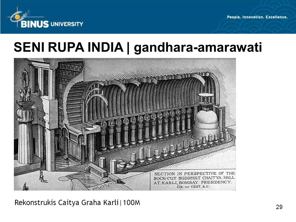 29 SENI RUPA INDIA   gandhara-amarawati Rekonstrukis Caitya Graha Karli 100M