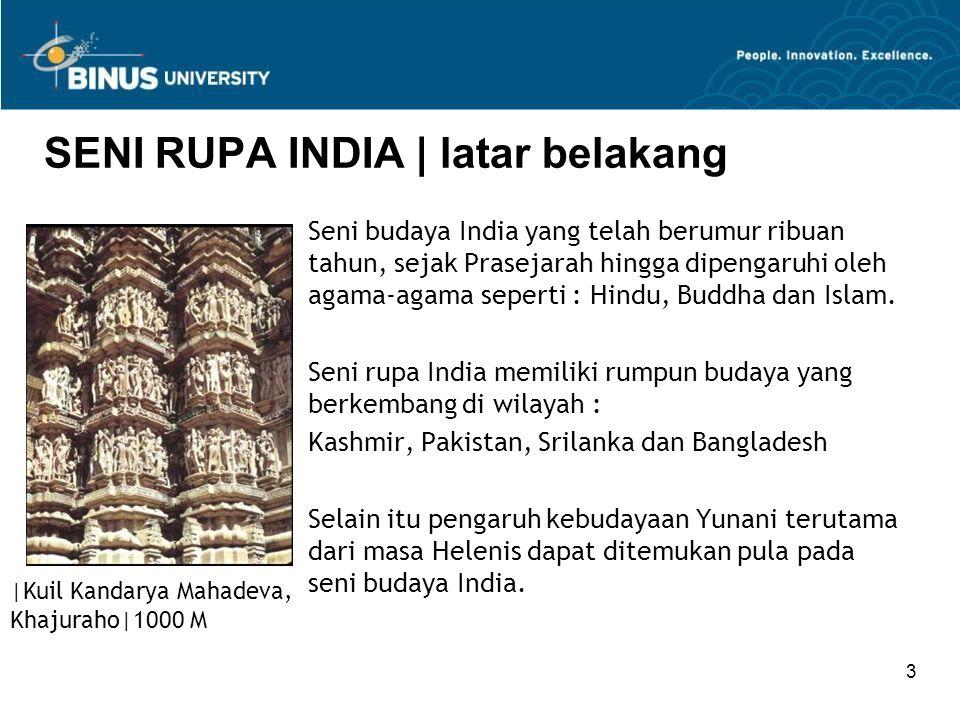 3 SENI RUPA INDIA   latar belakang Seni budaya India yang telah berumur ribuan tahun, sejak Prasejarah hingga dipengaruhi oleh agama-agama seperti : H