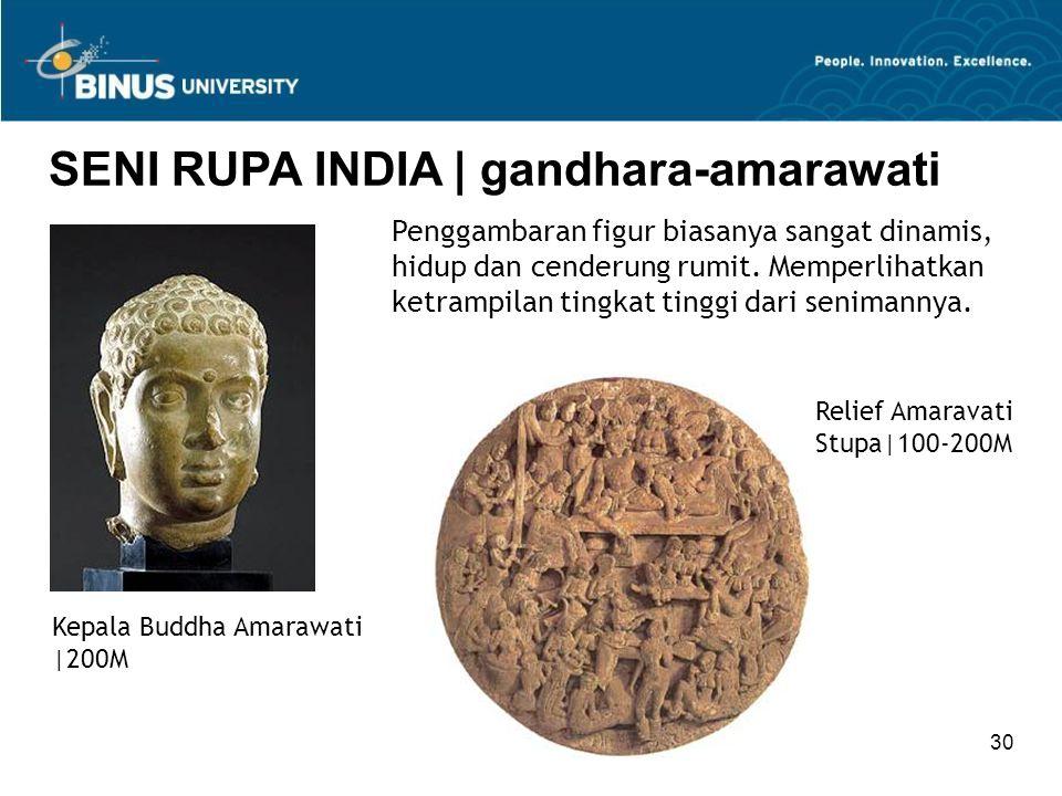 30 SENI RUPA INDIA   gandhara-amarawati Kepala Buddha Amarawati  200M Penggambaran figur biasanya sangat dinamis, hidup dan cenderung rumit. Memperlih