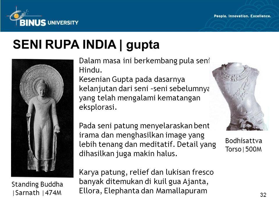 32 SENI RUPA INDIA   gupta Standing Buddha  Sarnath  474M Dalam masa ini berkembang pula seni Hindu. Kesenian Gupta pada dasarnya kelanjutan dari seni