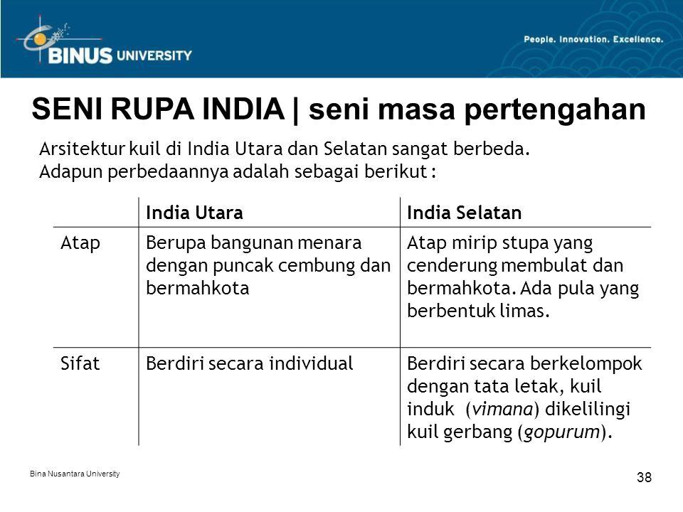 Bina Nusantara University 38 SENI RUPA INDIA   seni masa pertengahan Arsitektur kuil di India Utara dan Selatan sangat berbeda. Adapun perbedaannya ad