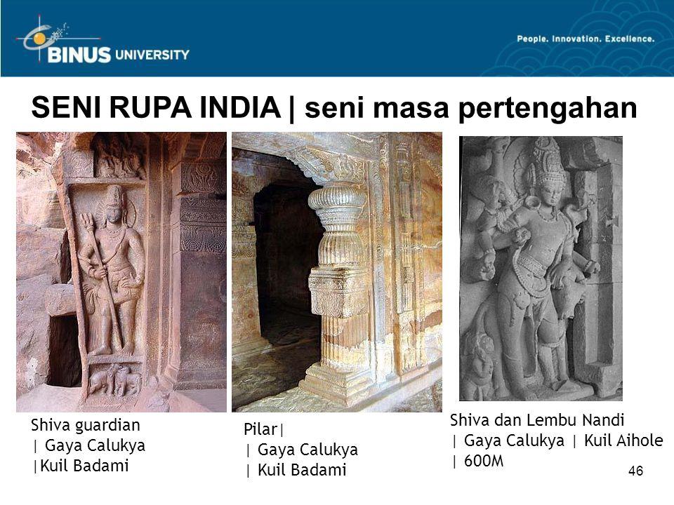 46 SENI RUPA INDIA   seni masa pertengahan Shiva guardian   Gaya Calukya  Kuil Badami Pilar    Gaya Calukya   Kuil Badami Shiva dan Lembu Nandi   Gaya