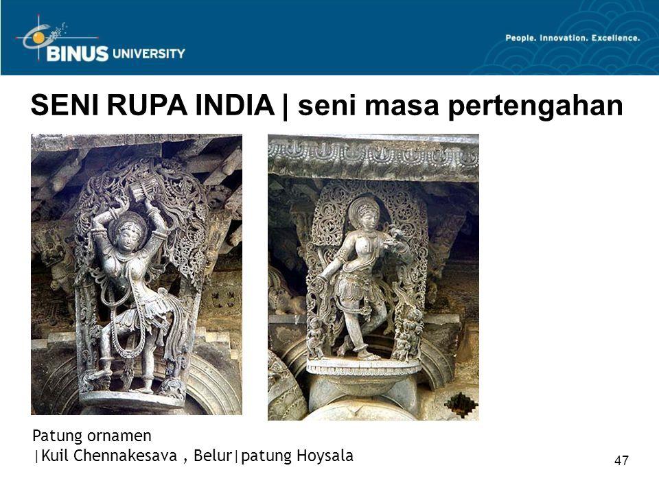 47 SENI RUPA INDIA   seni masa pertengahan Patung ornamen  Kuil Chennakesava, Belur patung Hoysala