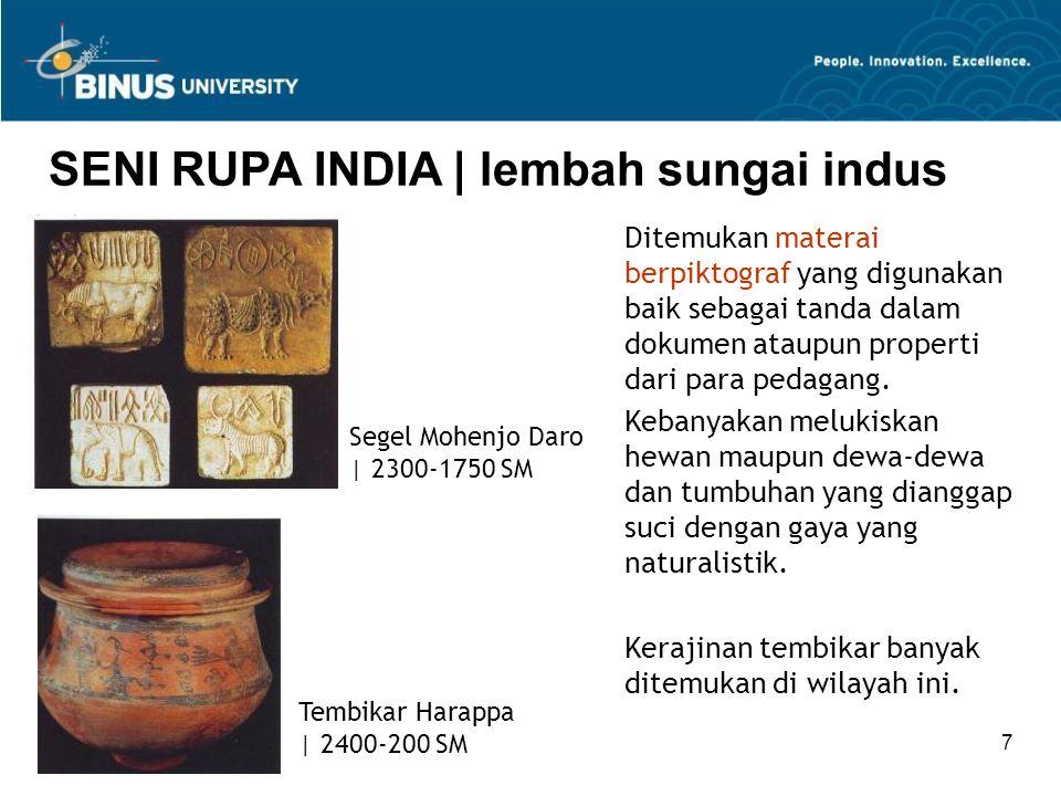 Bina Nusantara University 38 SENI RUPA INDIA   seni masa pertengahan Arsitektur kuil di India Utara dan Selatan sangat berbeda.
