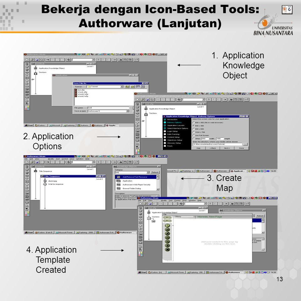 13 Bekerja dengan Icon-Based Tools: Authorware (Lanjutan) 1.Application Knowledge Object 2. Application Options 3. Create Map 4. Application Template