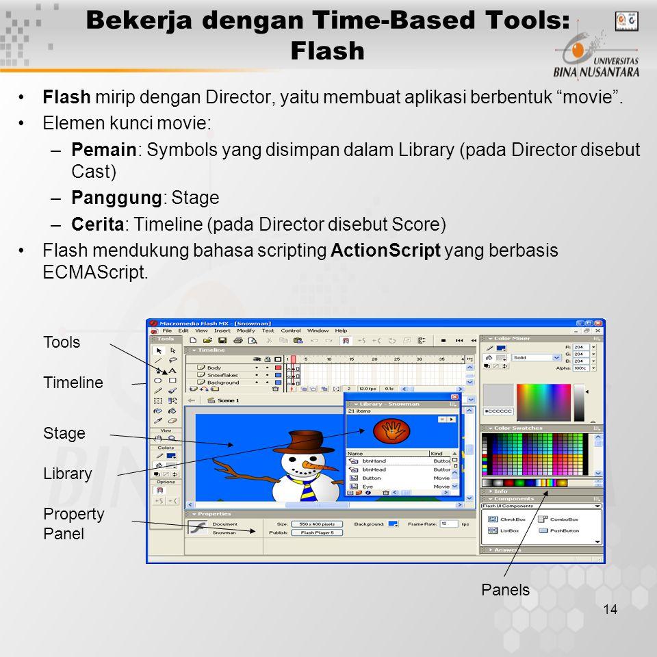 14 Bekerja dengan Time-Based Tools: Flash Flash mirip dengan Director, yaitu membuat aplikasi berbentuk movie .