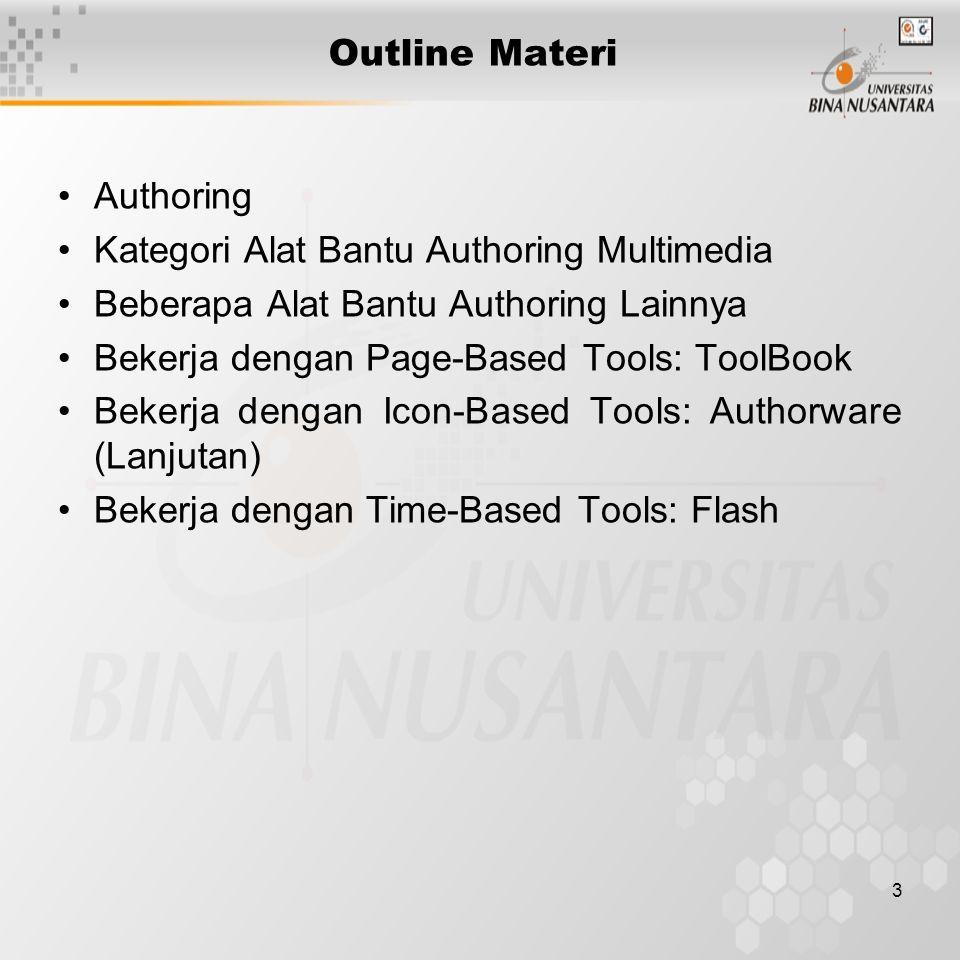 3 Outline Materi Authoring Kategori Alat Bantu Authoring Multimedia Beberapa Alat Bantu Authoring Lainnya Bekerja dengan Page-Based Tools: ToolBook Bekerja dengan Icon-Based Tools: Authorware (Lanjutan) Bekerja dengan Time-Based Tools: Flash