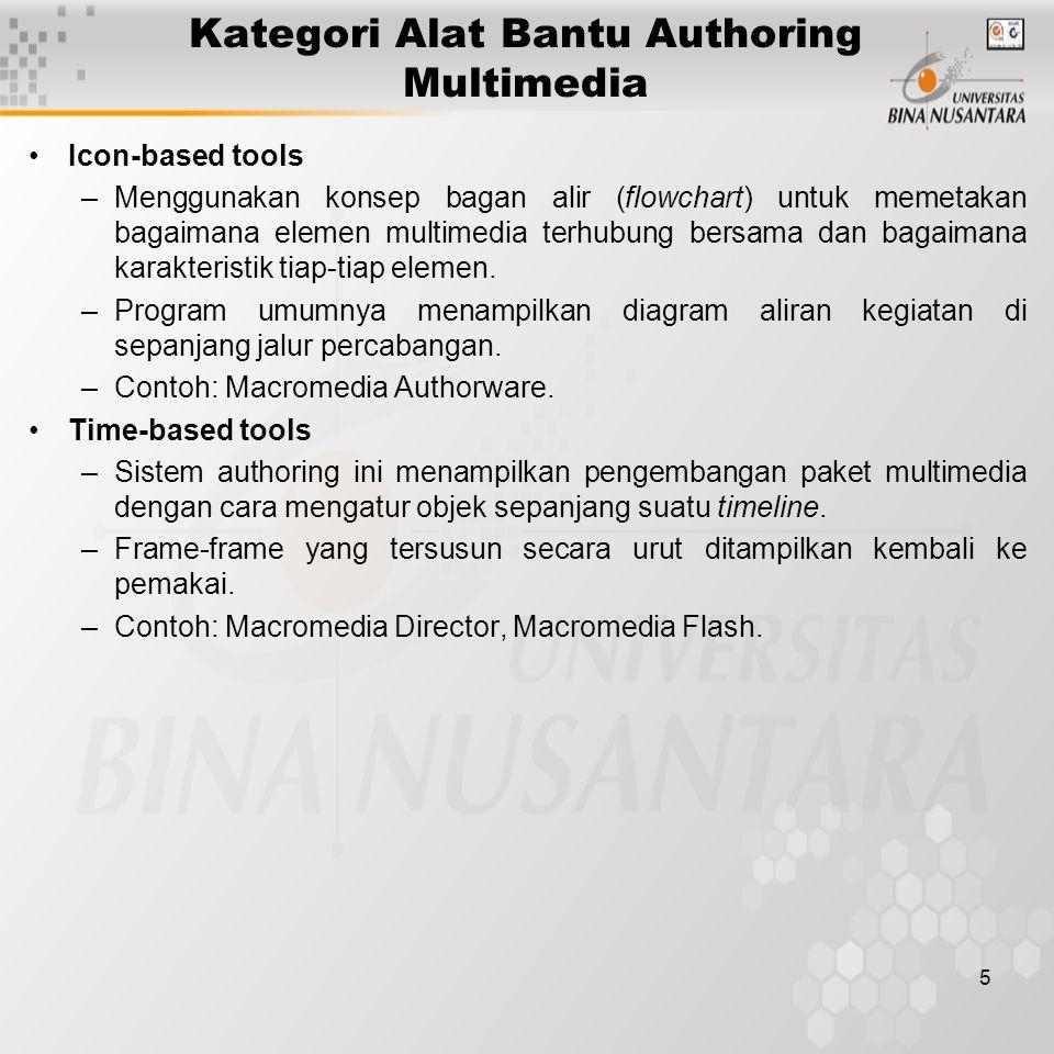 6 Beberapa Alat Bantu Authoring Lainnya Microsoft PowerPoint: page-based, biasa digunakan untuk membuat presentasi, namun dapat pula digunakan untuk aplikasi multimedia sederhana.