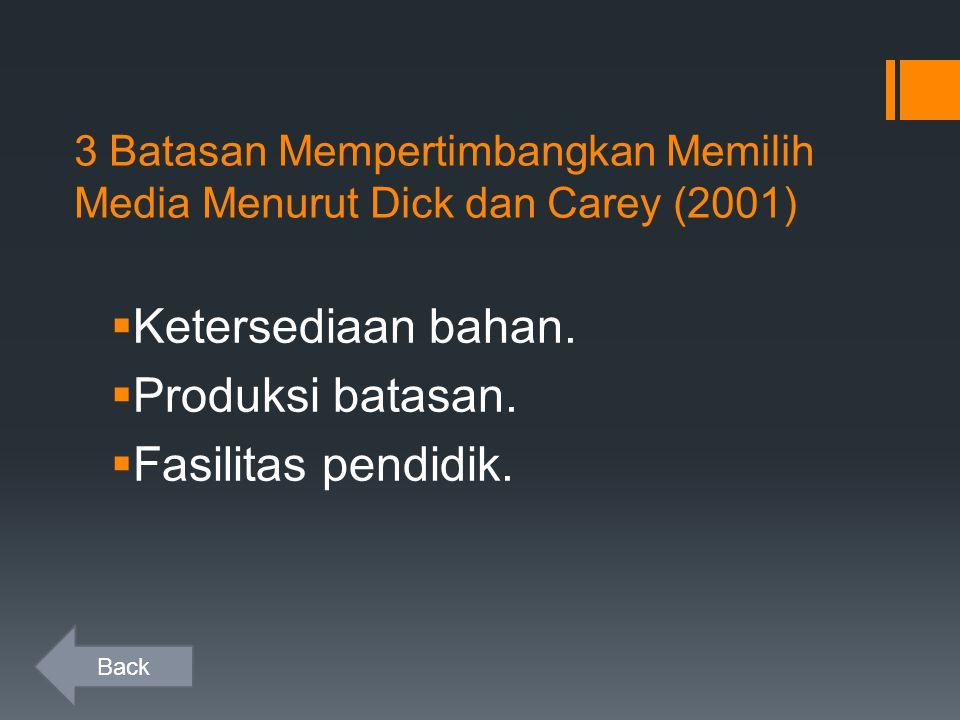 3 Batasan Mempertimbangkan Memilih Media Menurut Dick dan Carey (2001)  Ketersediaan bahan.