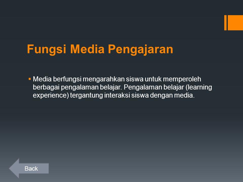 Fungsi Media Pengajaran  Media berfungsi mengarahkan siswa untuk memperoleh berbagai pengalaman belajar.