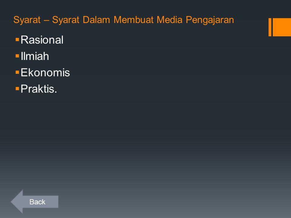 Syarat – Syarat Dalam Membuat Media Pengajaran  Rasional  Ilmiah  Ekonomis  Praktis. Back