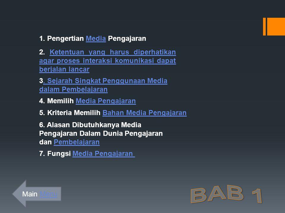1.Pengertian Media PengajaranMedia 2.