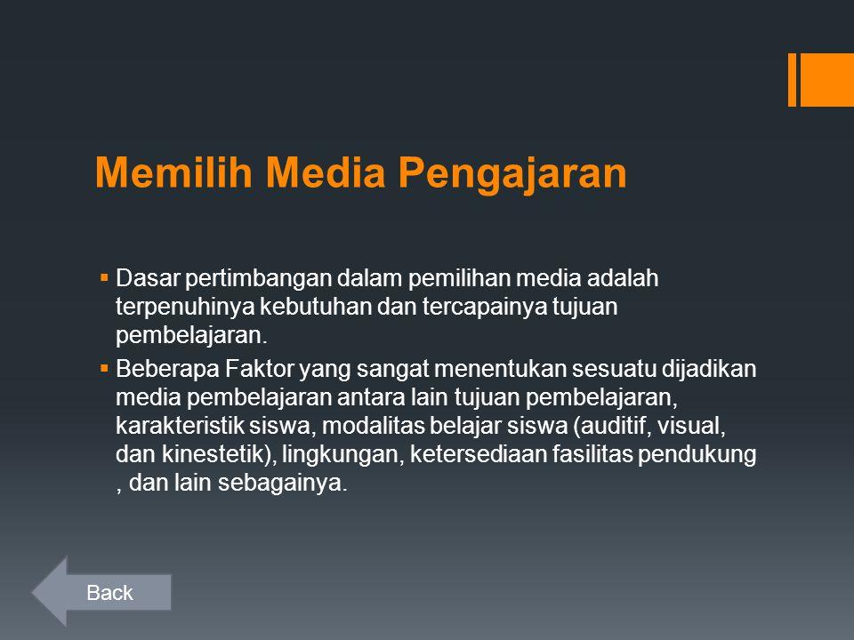 Memilih Media Pengajaran  Dasar pertimbangan dalam pemilihan media adalah terpenuhinya kebutuhan dan tercapainya tujuan pembelajaran.