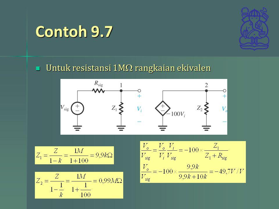 Contoh 9.7 Untuk resistansi 1M  rangkaian ekivalen Untuk resistansi 1M  rangkaian ekivalen