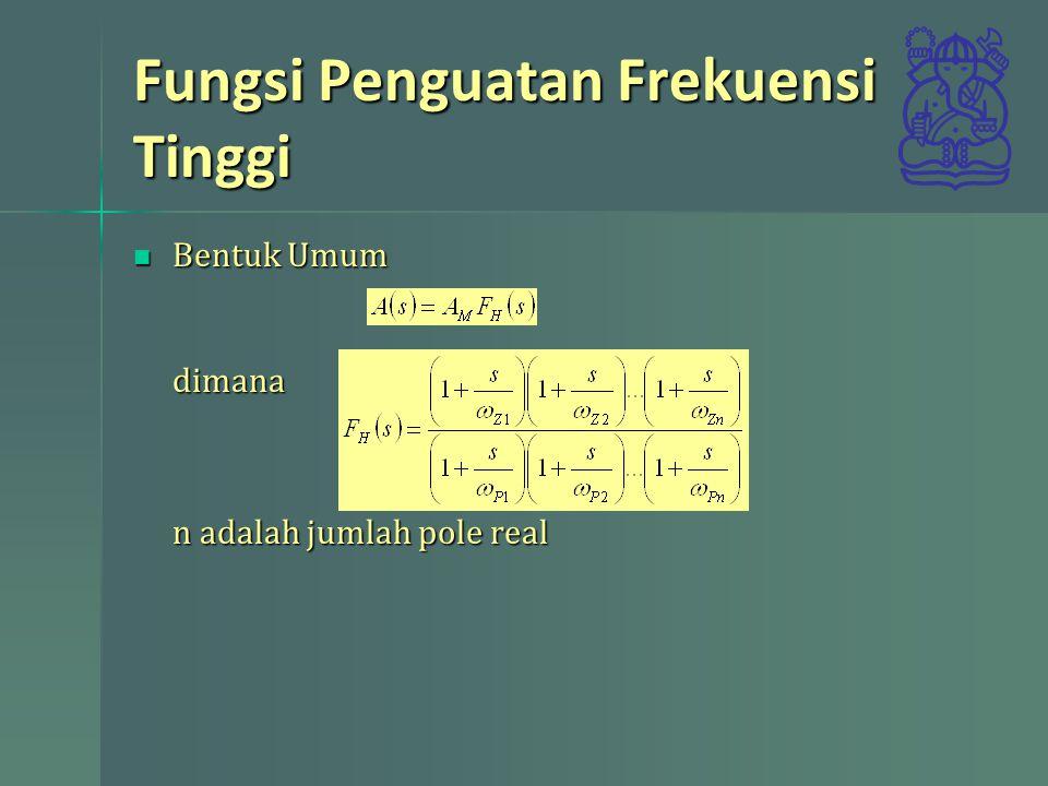 Fungsi Penguatan Frekuensi Tinggi Menentukan frekuensi cut-off 3dB, dengan pole 1 dominan (frekuensi terdekat berjarak dua oktaf) respons didekati bentuk Menentukan frekuensi cut-off 3dB, dengan pole 1 dominan (frekuensi terdekat berjarak dua oktaf) respons didekati bentuksehingga Bila tidak ada pole dominan untuk s=j  nilai kuadrat magnituda Bila tidak ada pole dominan untuk s=j  nilai kuadrat magnituda