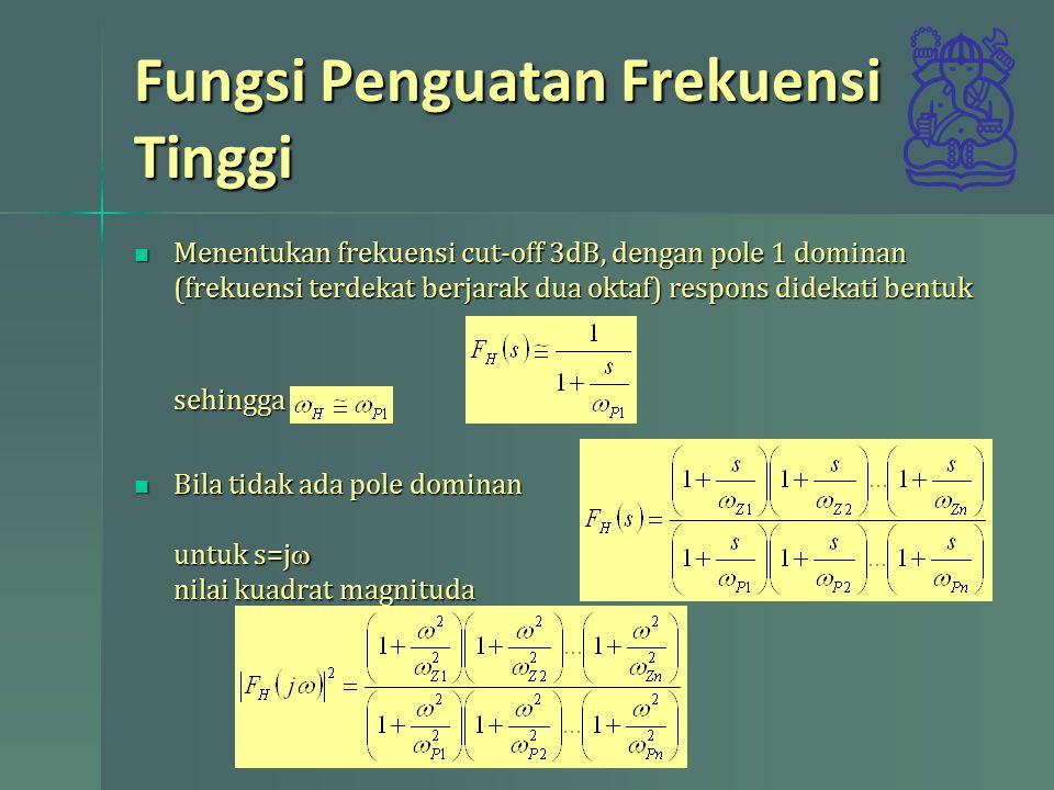 Fungsi Penguatan Frekuensi Tinggi Dari definis frekuensi cut-off 3dB, setengah daya Dari definis frekuensi cut-off 3dB, setengah dayamaka Untuk rangkaian dengan dua pole dan dua zero berdekatan sehingga