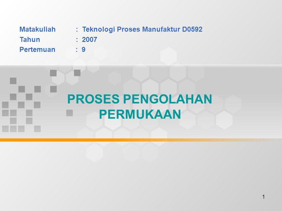 1 PROSES PENGOLAHAN PERMUKAAN Matakuliah: Teknologi Proses Manufaktur D0592 Tahun: 2007 Pertemuan : 9