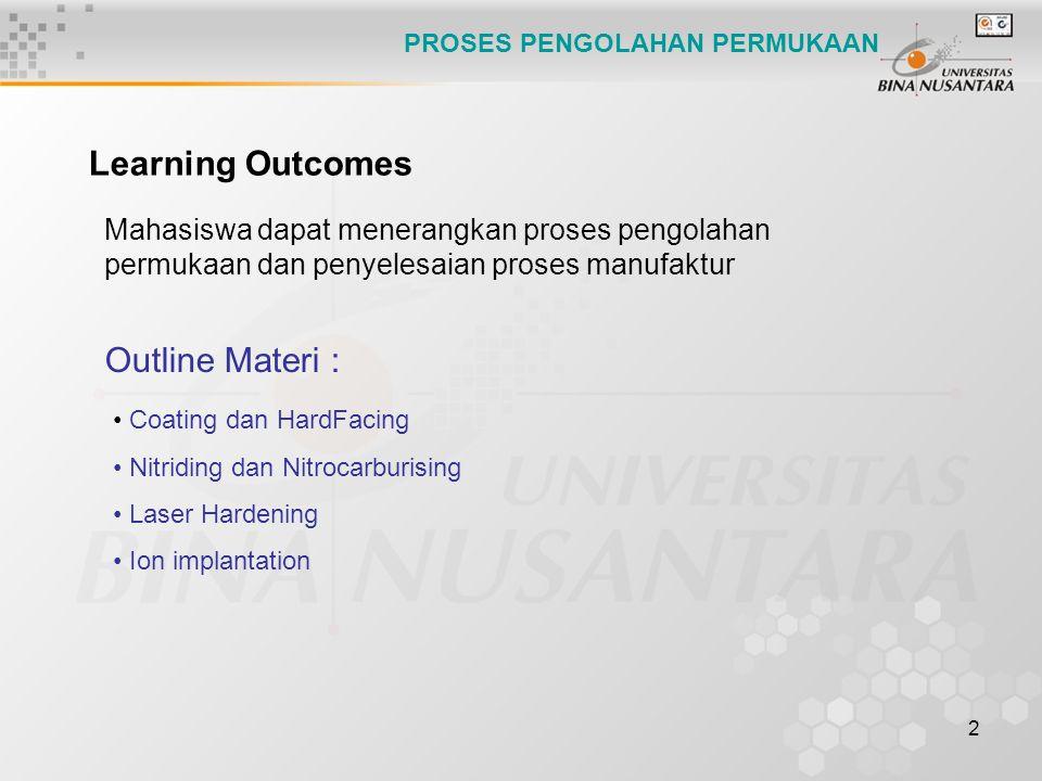 2 Mahasiswa dapat menerangkan proses pengolahan permukaan dan penyelesaian proses manufaktur Learning Outcomes Outline Materi : Coating dan HardFacing